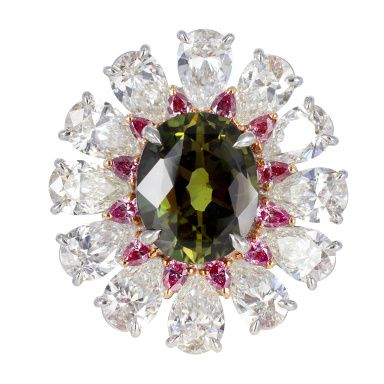 5.52ct Alexandrite And Fancy Diamond Ring