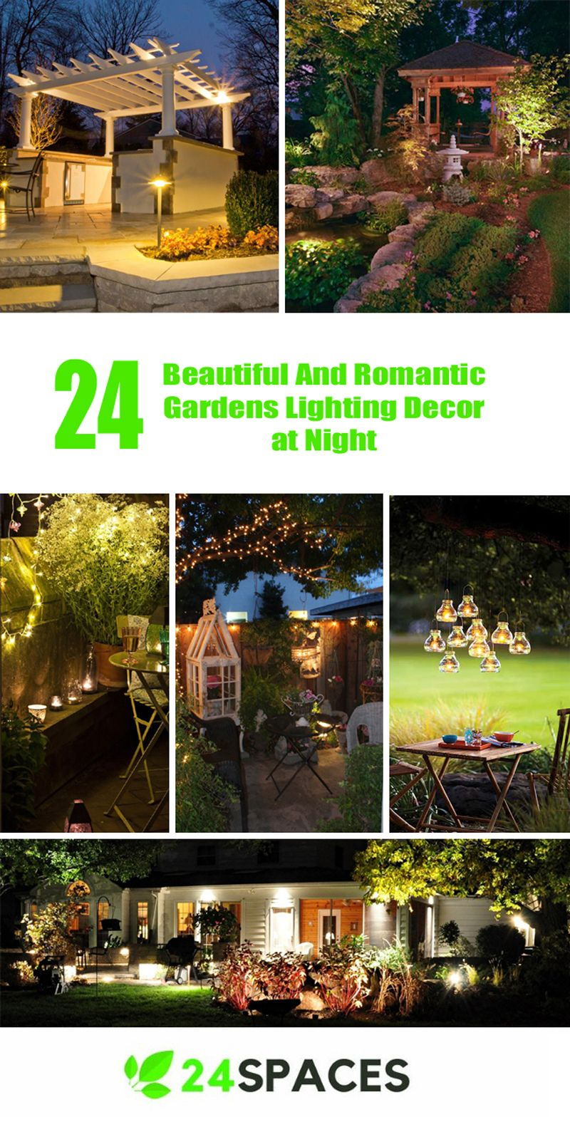 Garden landscape night   Beautiful And Romantic Gardens Lighting Decor at Night  Outdoor
