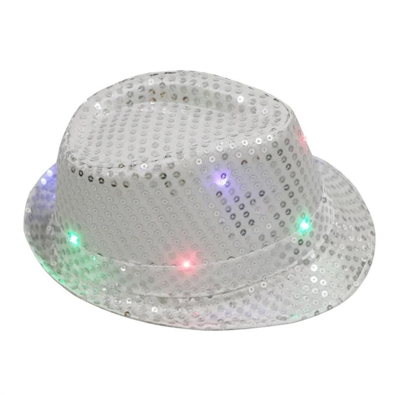 afe0319130503 Flashing LED Hat Jazz Hats with Glitter Sequins Party Adult Size Hat You  Pick Color