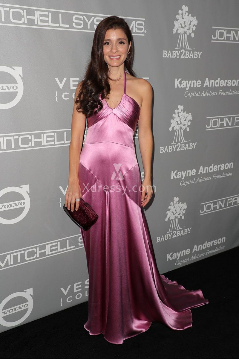Shiri Appleby Feminine Fuchsia Charmeuse Spliced Long Prom Dress ...