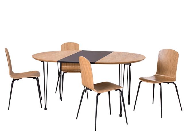 Ryland Essgruppe mit 4 Stühlen, Eiche und Schwarz | Stuhl eiche ...
