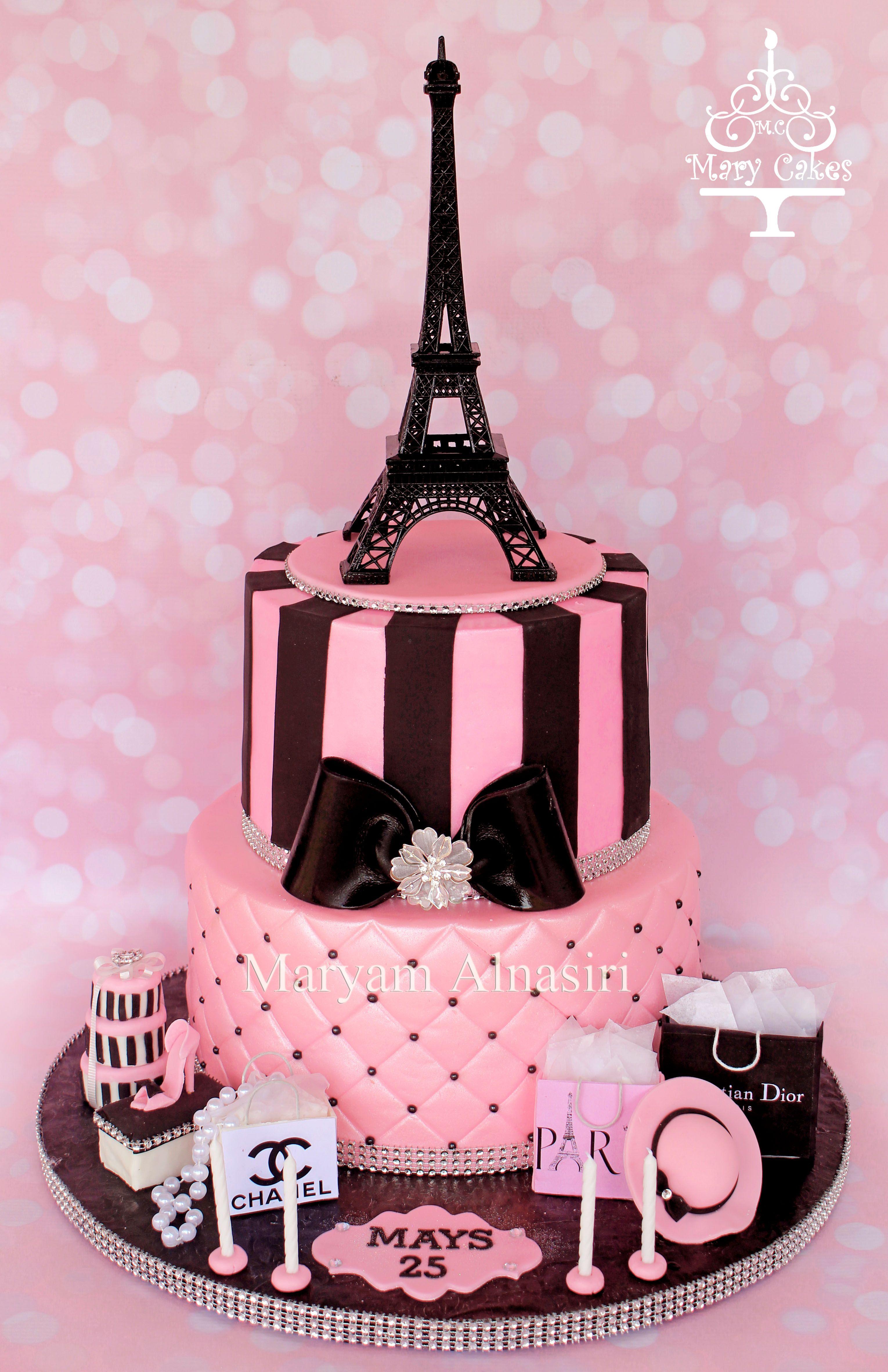 Astonishing Parisian Theme Cake Pariscake Eiffeltower Pinkandblack Paris Funny Birthday Cards Online Alyptdamsfinfo