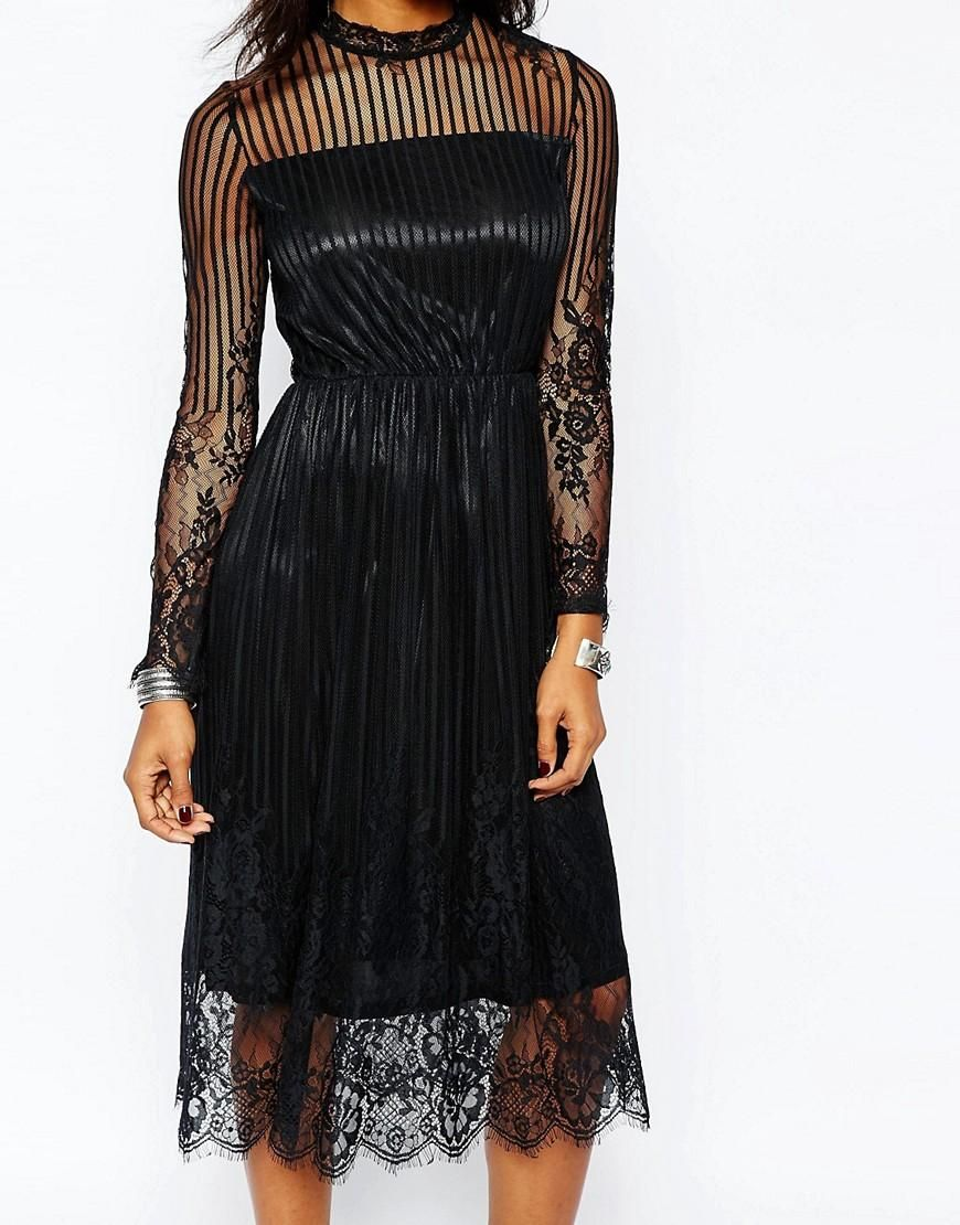 Boohoo boohoo long sleeve black lace midi dress at asos fashion