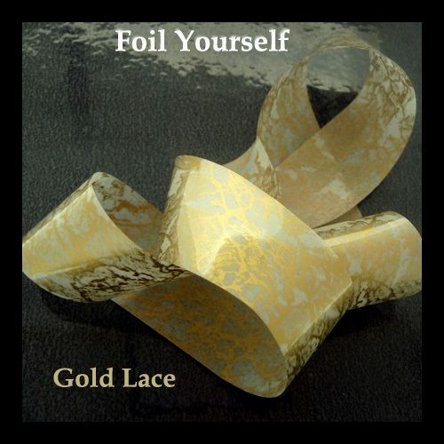 Gold lace nail transfer foil, perfect over red polish or gel