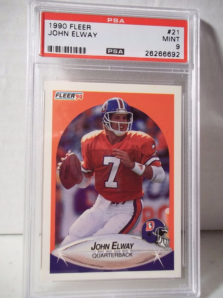1990 Fleer John Elway PSA Mint 9 Football Card 21 NFL