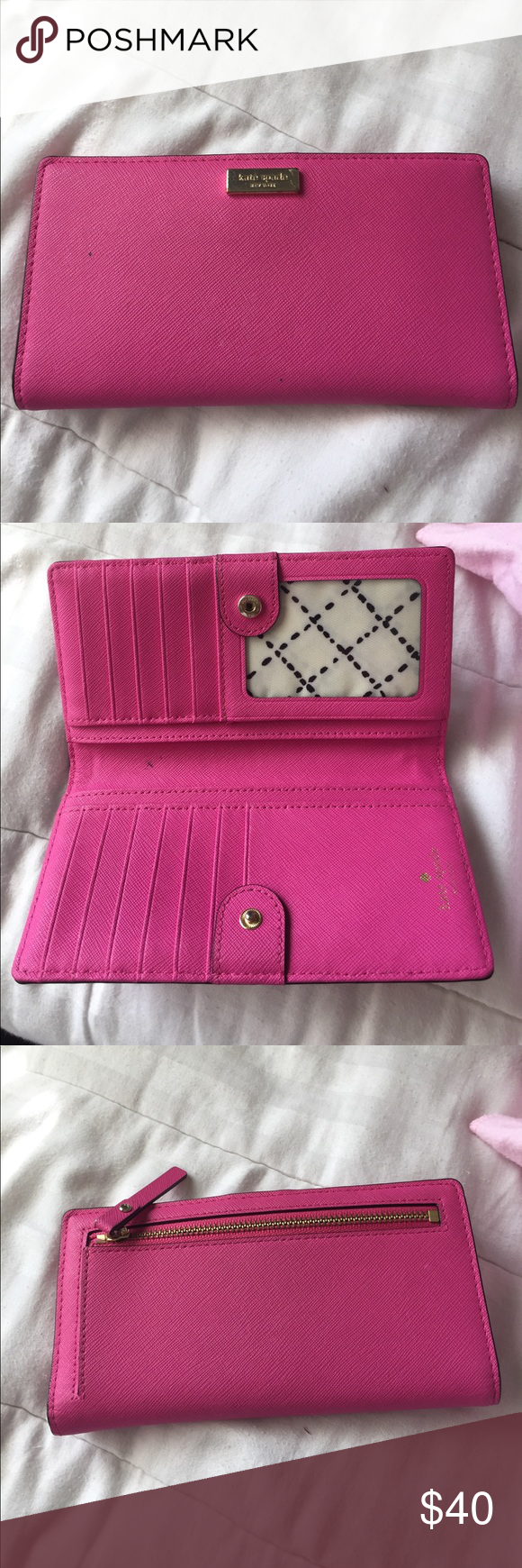 Kate spade pink wallet. Pink wallet, authentic. Some black marks that can be removed. kate spade Bags Wallets