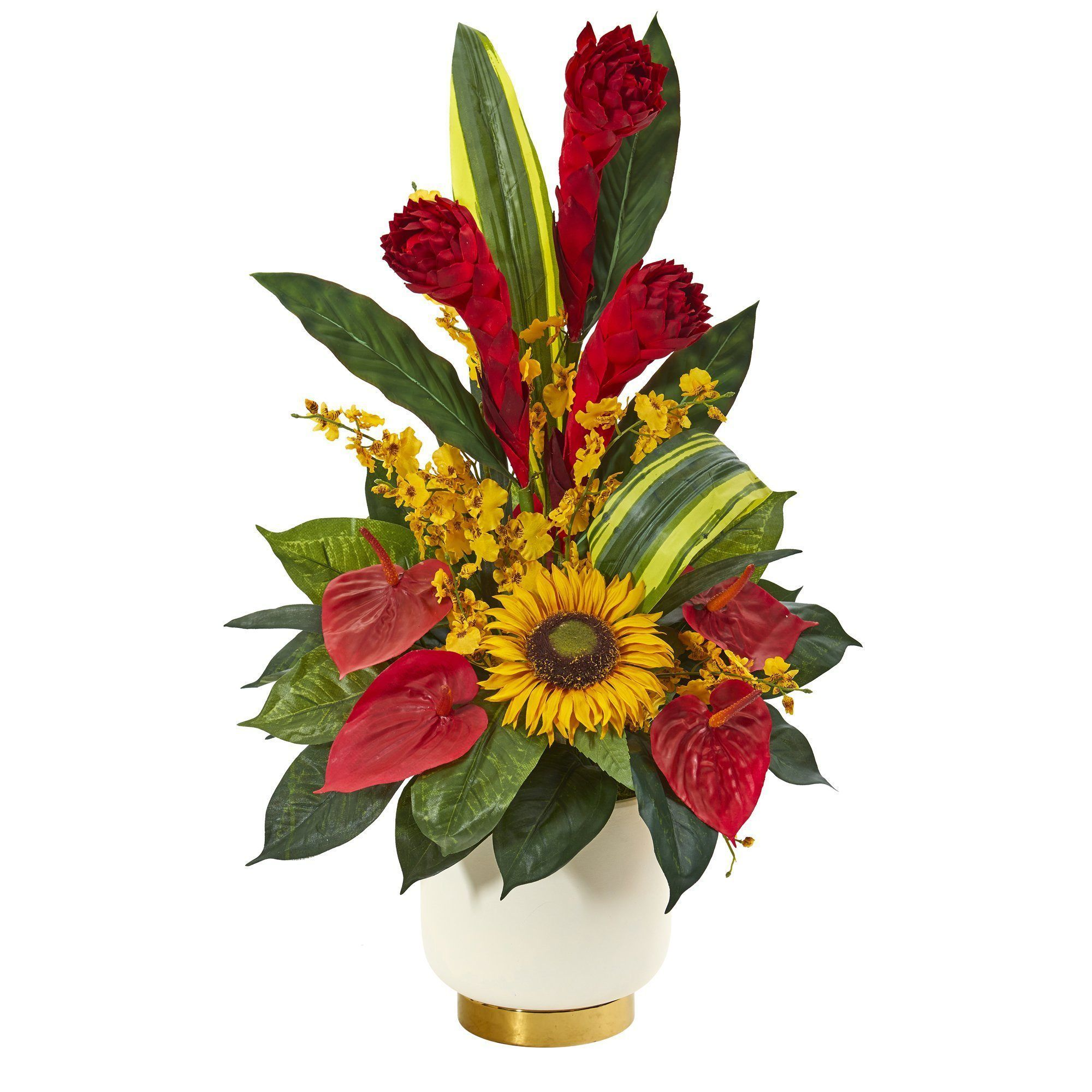 30 Mixed Tropical Floral Artificial Arrangement In Cream Vase With Gold Base In 2020 Tropical Floral Arrangements Tropical Flower Arrangements Large Floral Arrangements