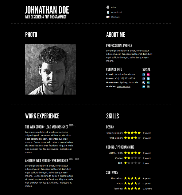 this resume website template offers a built php