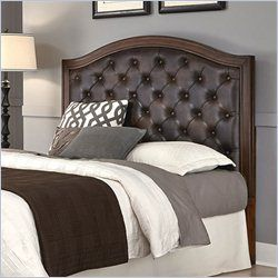 Home Styles Duet Tufted Panel Headboard with Brown Leather in Cherry