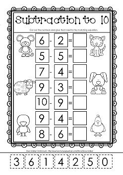 cut and paste subtraction to 10 free worksheet my worksheets and clip art pinterest. Black Bedroom Furniture Sets. Home Design Ideas