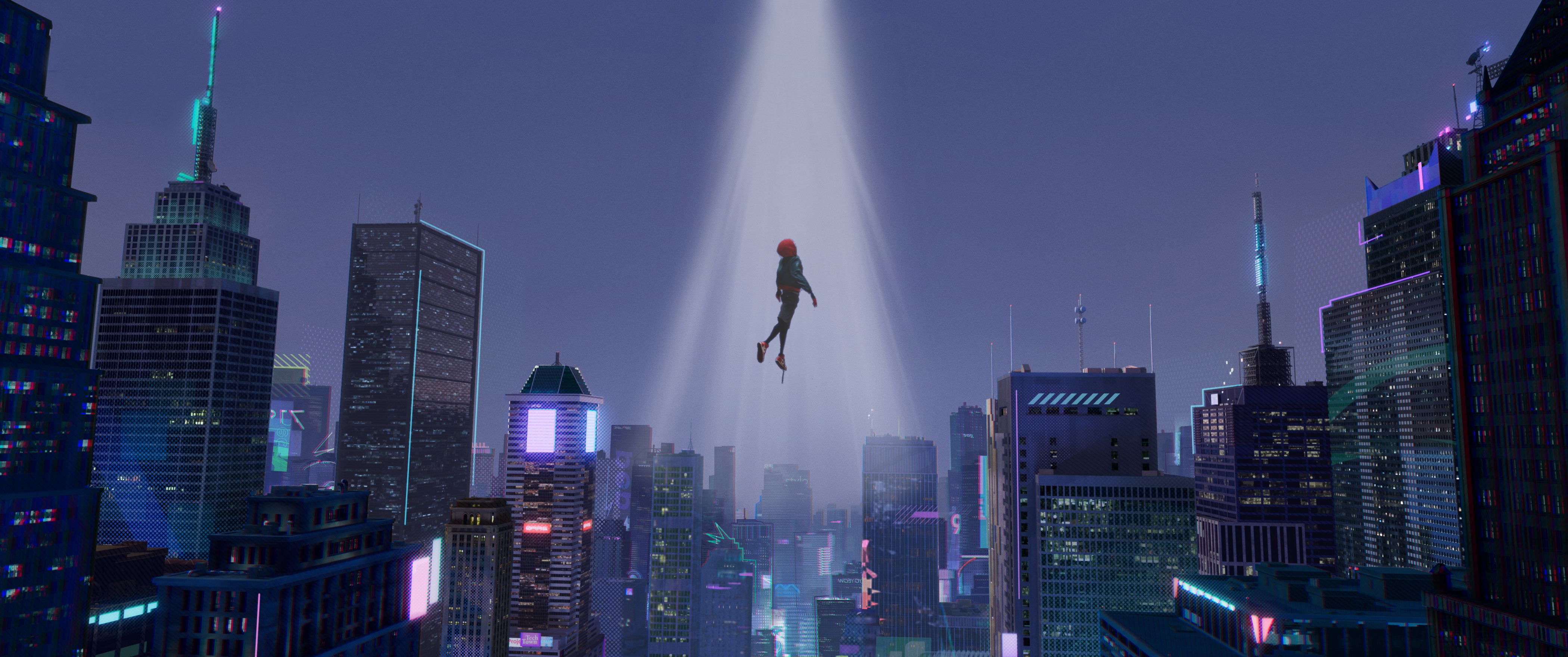 Spider Man Being Abducted By Aliens 4200x1760 Music Indieartist Chicago Spider Verse Wallpaper Hd Wallpaper
