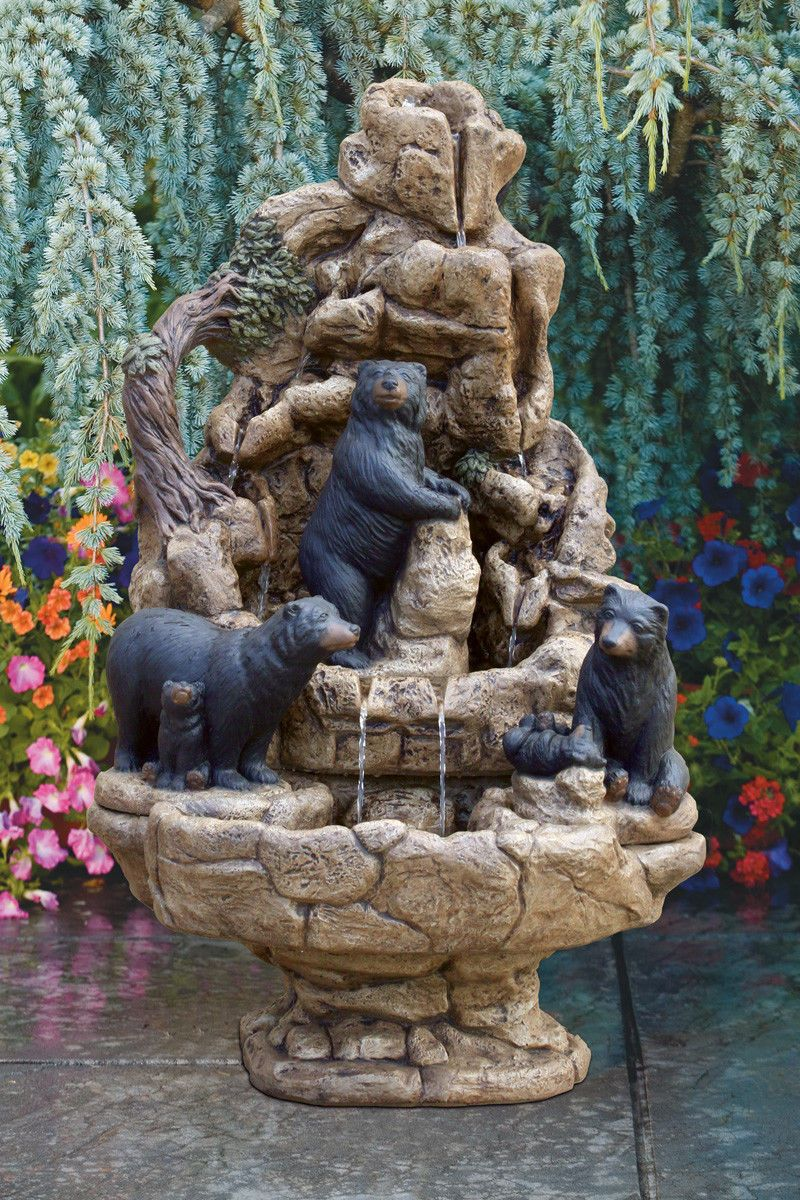 Wildlife Fountain   Bears   Outdoor Concrete Garden Water Fountain  Waterfall   EBay Garden Fountains Outdoor