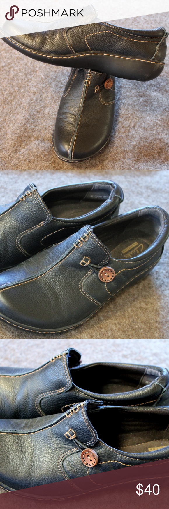 Clarks Un.Loop Side Button Shoes These shoes feature
