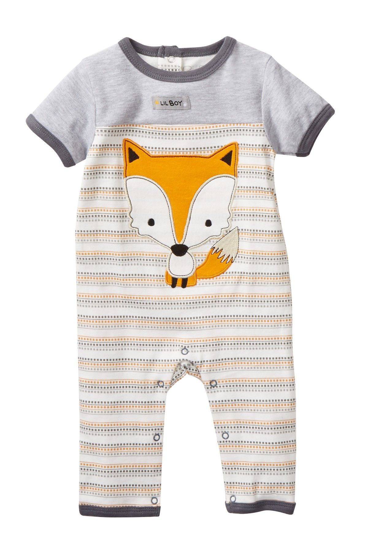 Fox Striped Coverall Baby Boys
