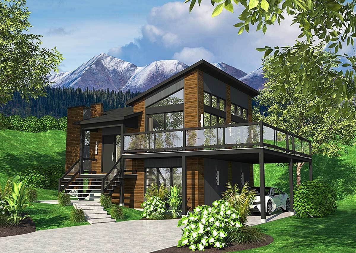 Exciting contemporary house plan pd architectural designs plans roof bungalow also best rumah kayu images rh pinterest