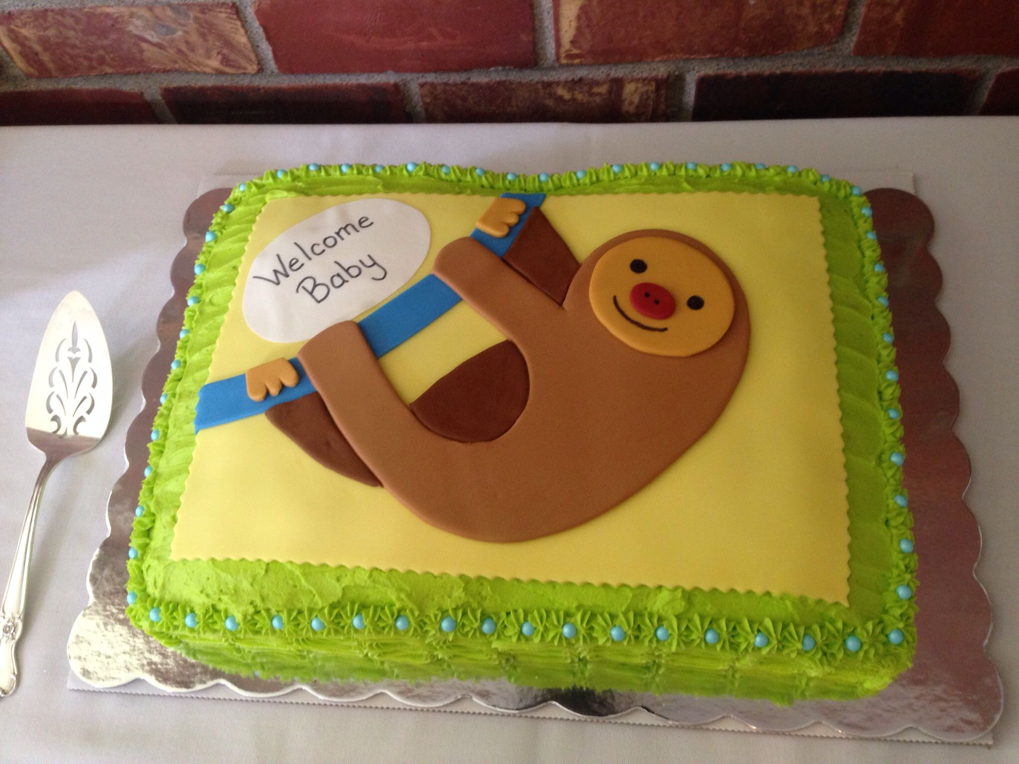 The Cake At My Sloth Baby Shower So Cute Thanks Amy