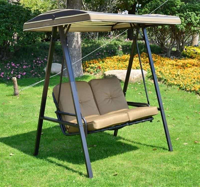 2 Seater Garden Swing Chair Light Brown Cushion Steel Frame