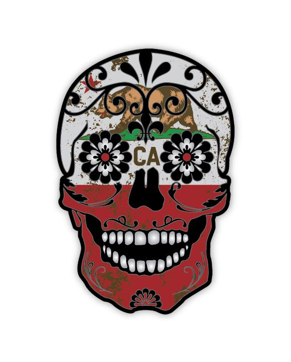 Grunge california flag detailed sugar skull sticker series 4 the mexican day of the dead calavera