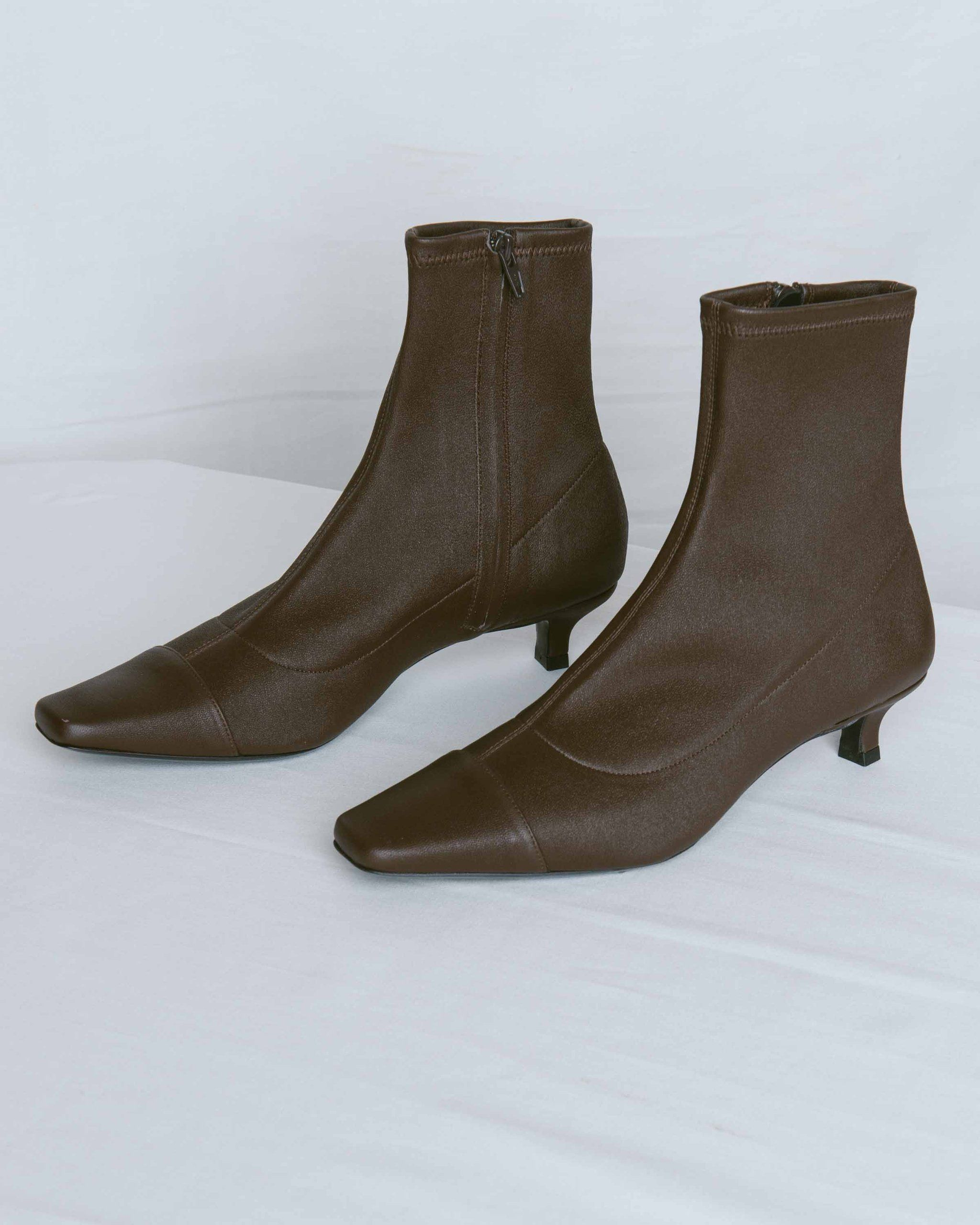 Brown Stretch Leather Karl Boot In 2020 Kitten Heel Ankle Boots Boots Stretch Leather