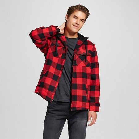 Men 39 S Quilted Sherpa Flannel Shirt Jacket Red Burnside Target Red Jacket Shirt Jacket Flannel Shirt