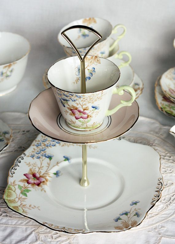 Lovely 3 tier cakestand / cupcake display unique by NancysTeaShop