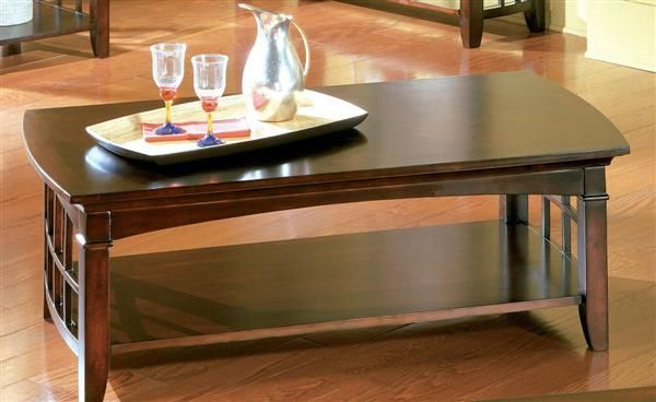Glasgow Contemporary Dark Cherry Wood Rectangle Cocktail Table