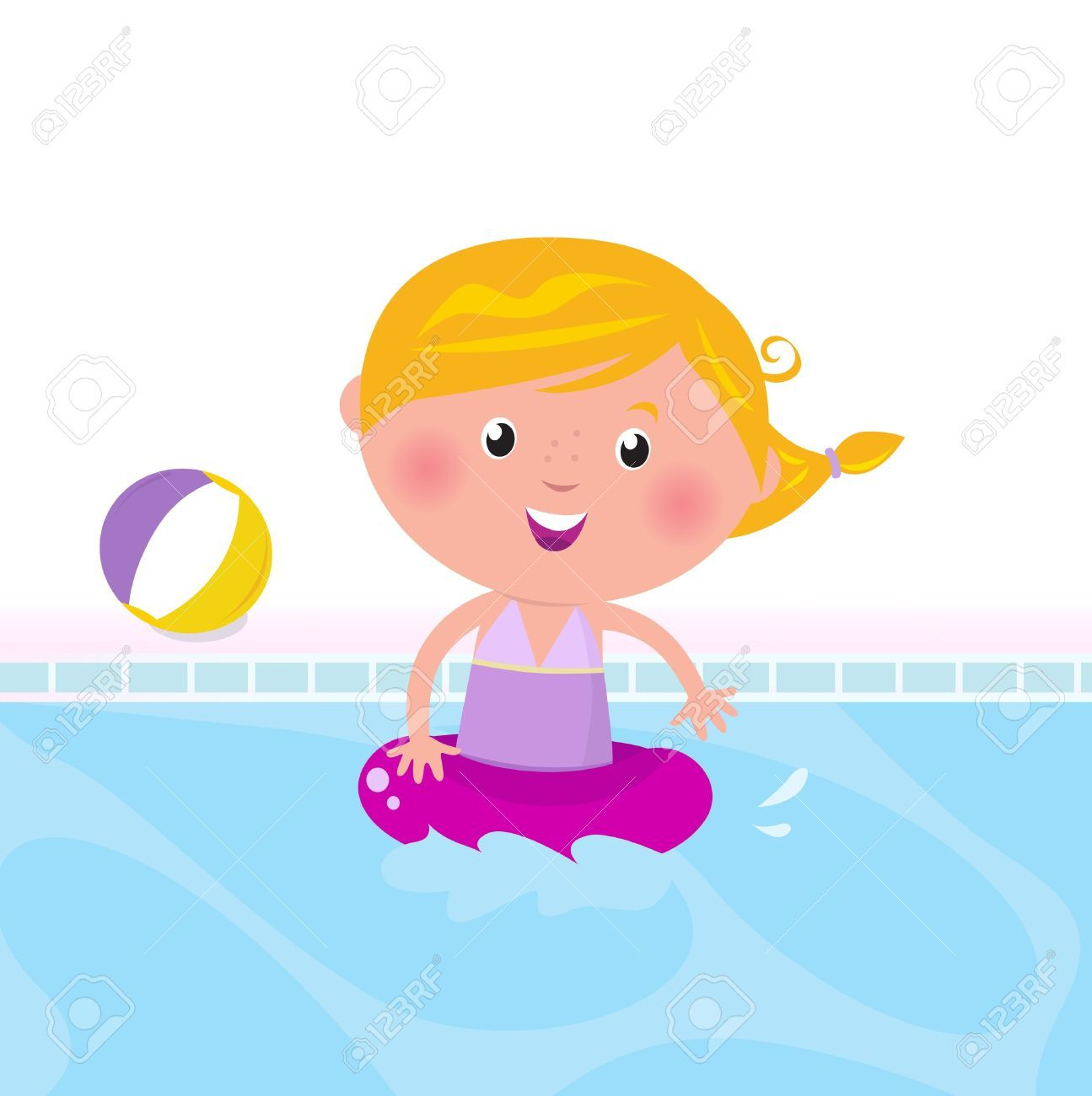 9474169-Cute-child-in-swimming-pool-Vector-Illustration--Stock ...
