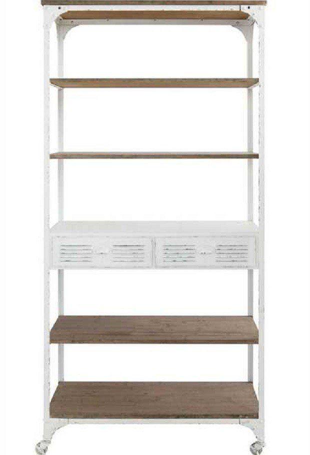 White Rolling Shelving Unit Shelves Etagere Bookcase Wood Shelves
