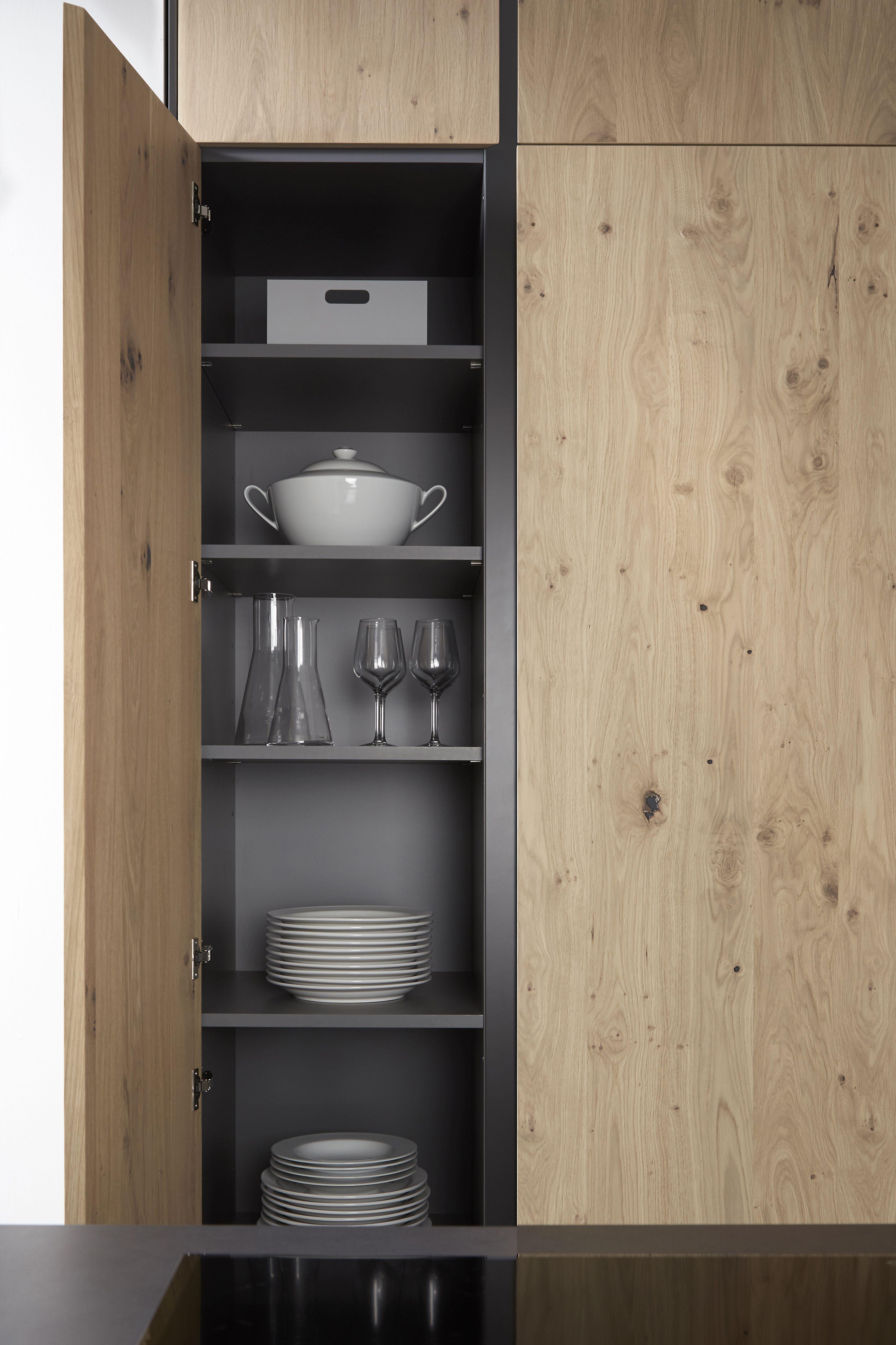 Mueble despensa en roble natural con nudos un armario donde guardar toda la vajilla la serie45 - Mueble despensa cocina ...