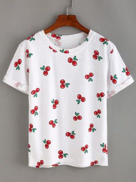 T ShirtBroderie BlancMode 2019 Motif Shirt Cerise En Sur Y67gfyb