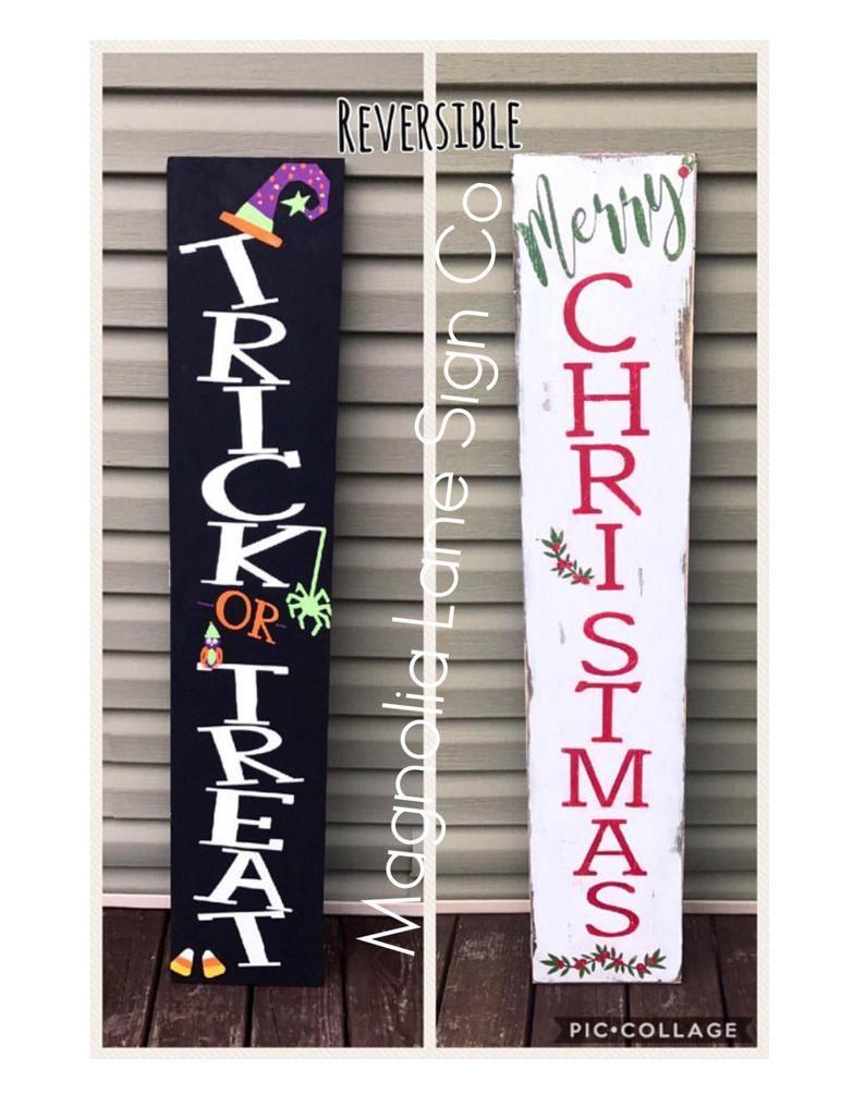 Reversible Veranda Zeichen, Ernte Veranda Zeichen, Frohe Weihnachten Veranda Zeichen, Veranda Zeichen   – DIY porch signs