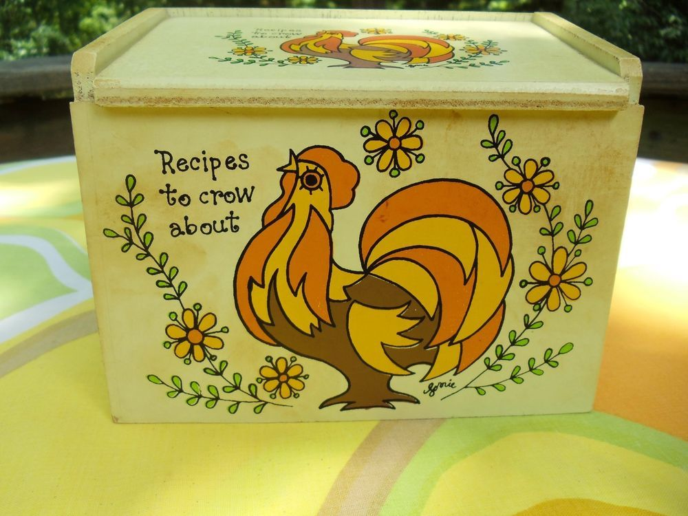 VTG 1970s Retro Orange Rooster Wooden Lorrie Design Made In Japan MIJ Recipe Box