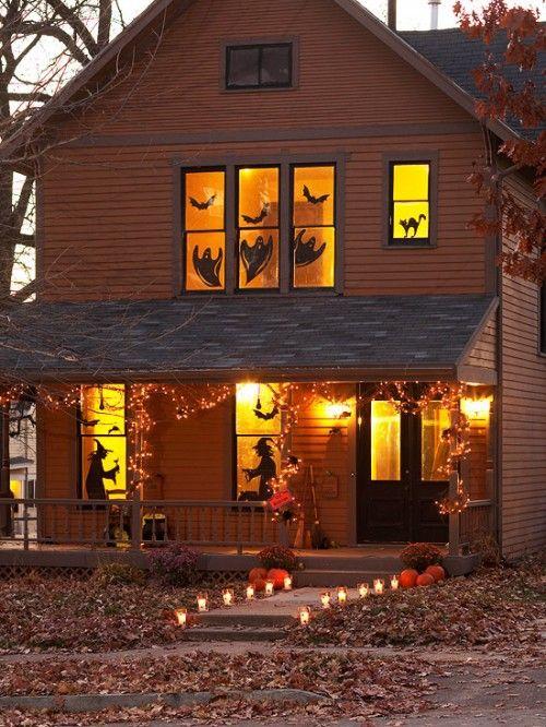 25 idéias para decorar o Windows com silhuetas no Halloween | Shelterness