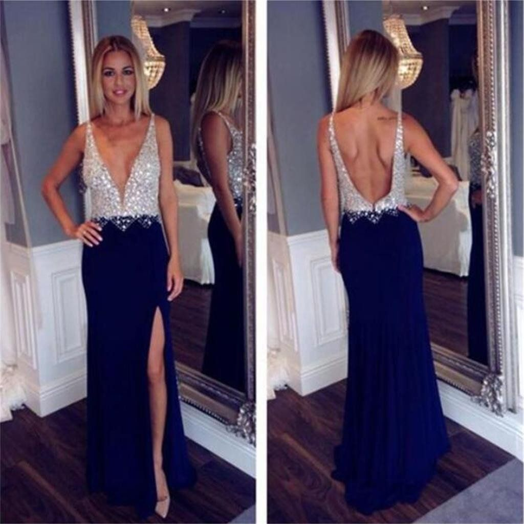 Long Custom Deep V-neck Open Back Side Slit Fashion Newest Sexy Charming Prom  Dress