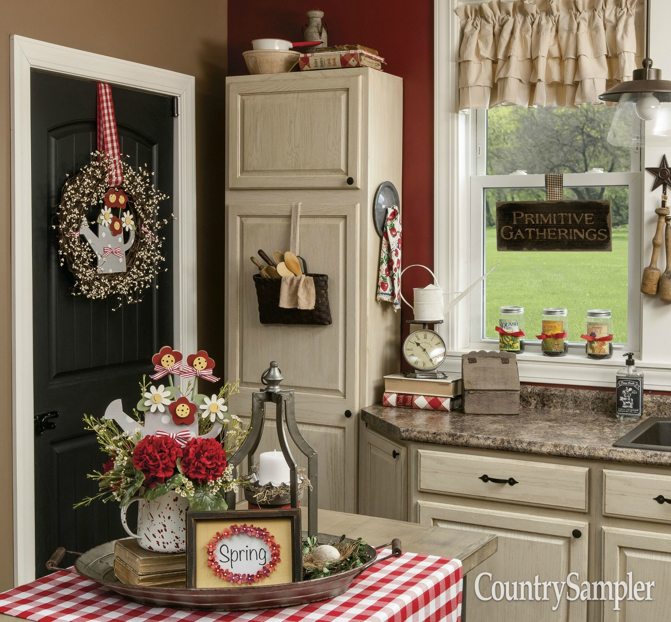 Country sampler stylists add blooming charm to a country