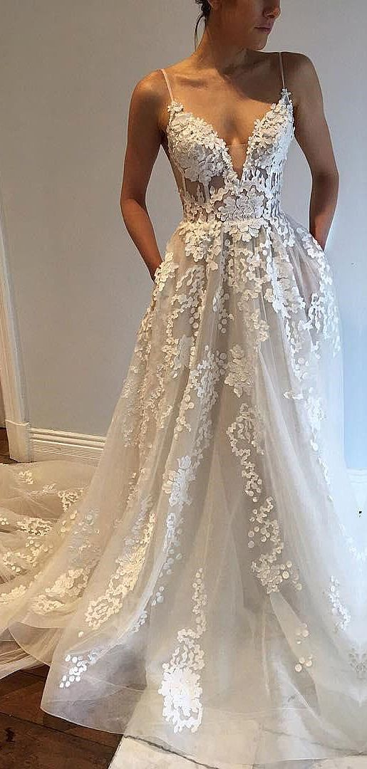Deep V Neck A-Line Wedding Dresses Court Train Tulle Sleeveless