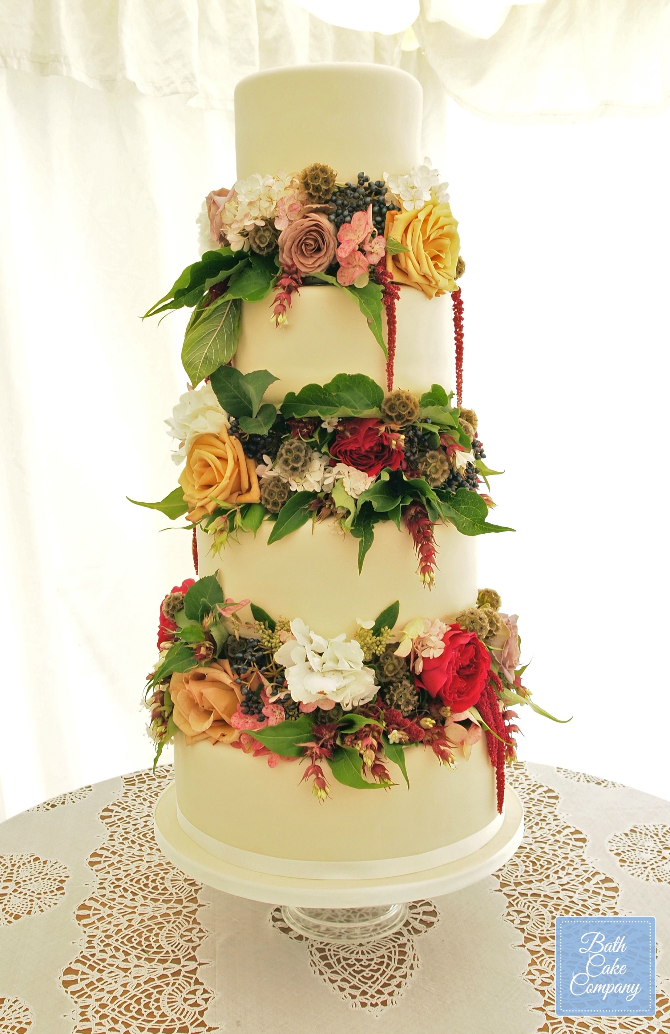 Stunning Floral Wedding Cake by Bath Cake Company, set up at Leigh ...