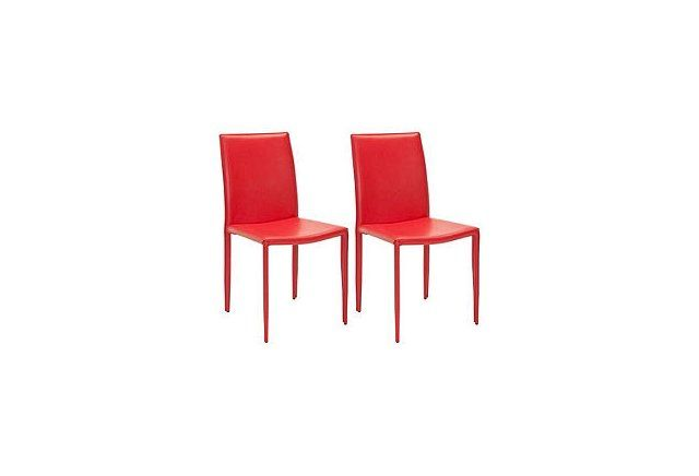 Red Leather Caldwell Side Chairs, Pair