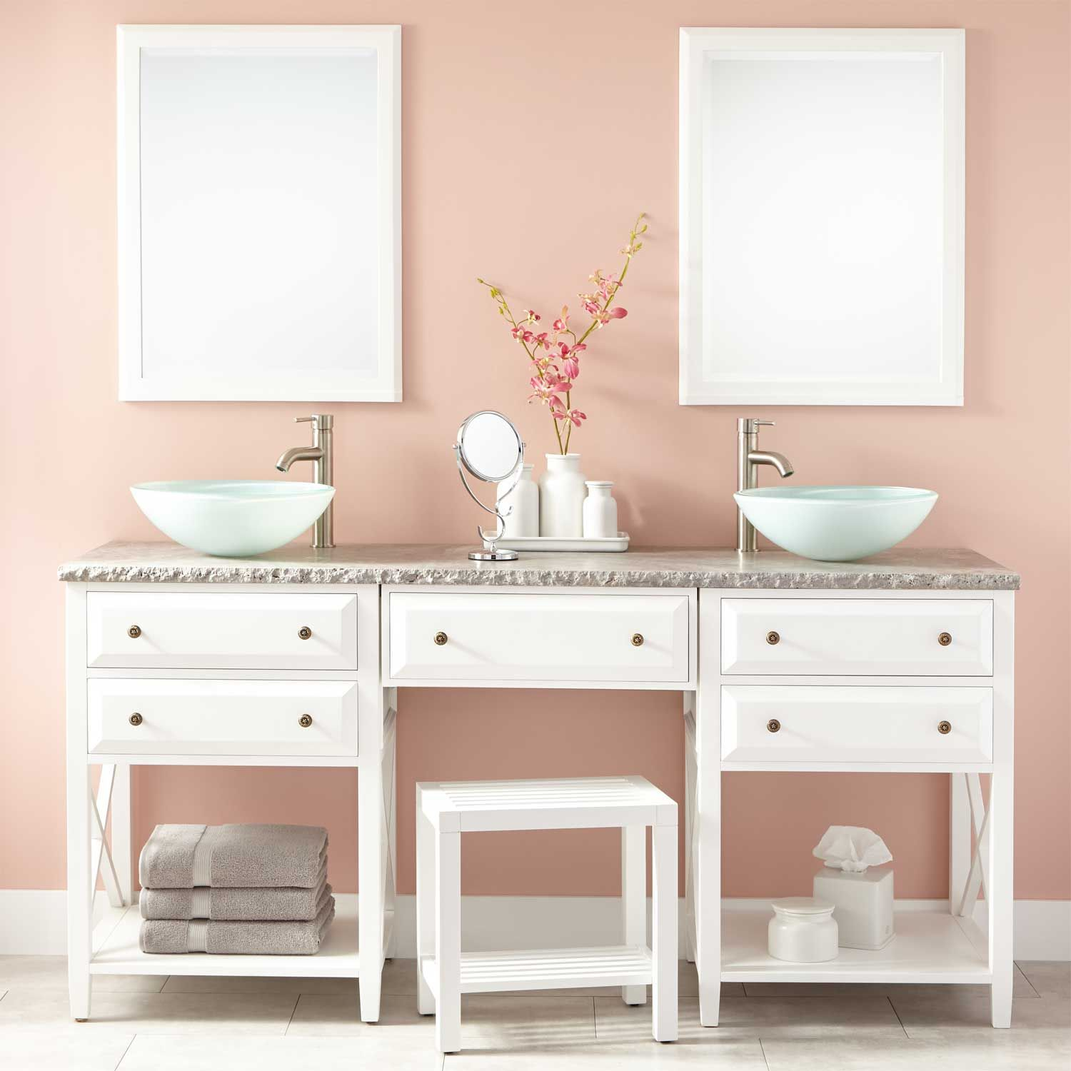 72 Glympton Vessel Sink Double Vanity With Makeup Area White
