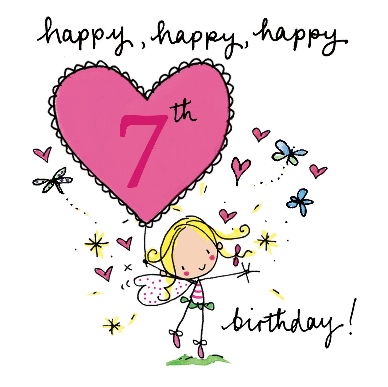 Happy 7th Birthday Fairy Age Cards Pinterest