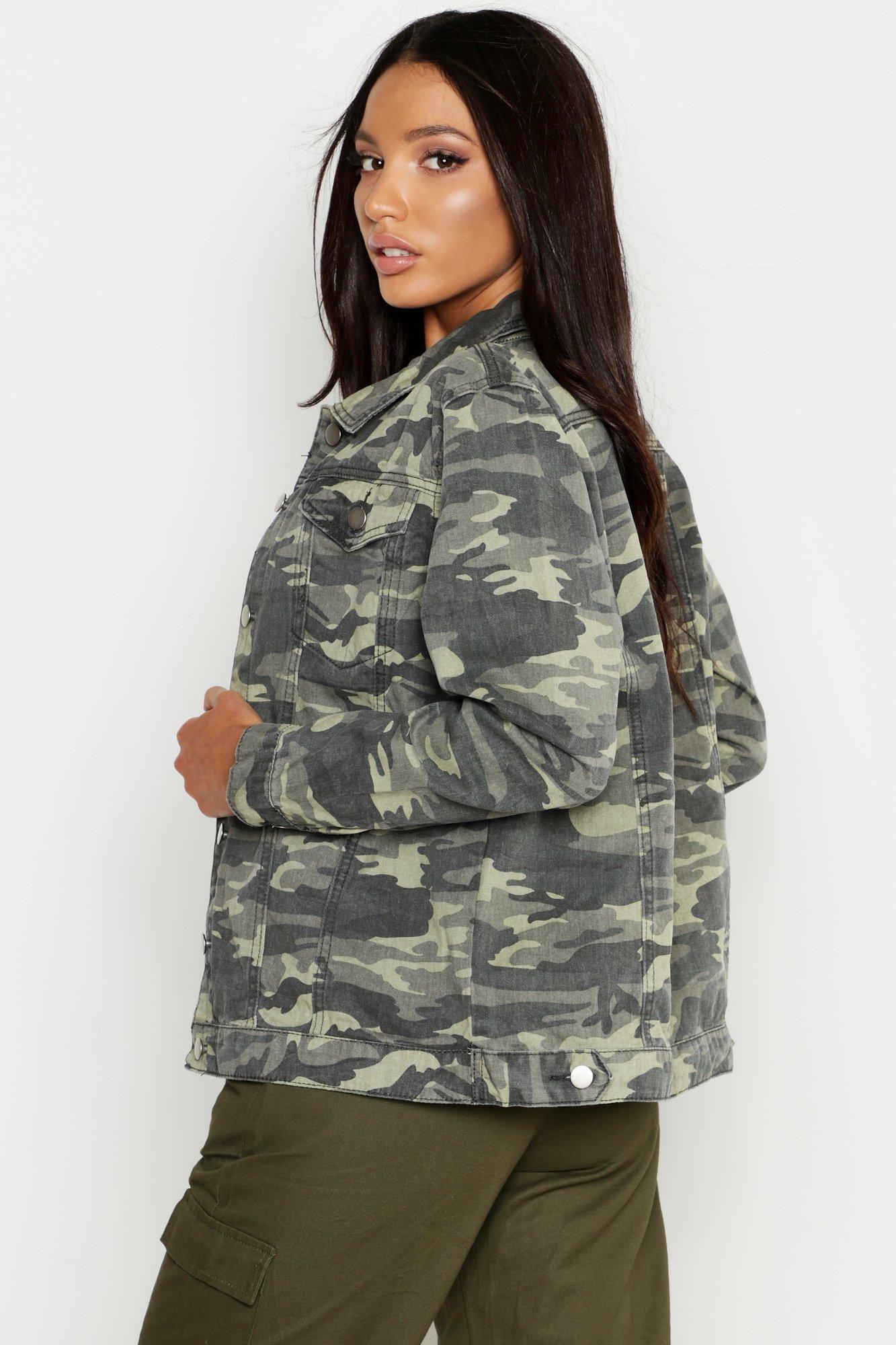 Oversized Camo Denim Jacket Boohoo Camo Denim Jacket Jackets Denim Jacket [ 2000 x 1333 Pixel ]