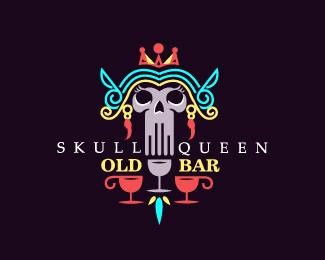 Skull Queen Old Bar Old Bar Bar Logo Logo Concept