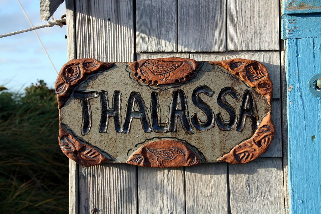 Ceramic sign by Sally Gierke for Thalassa, a dune shack on the Cape Cod National Seashore, Oct. 2015.
