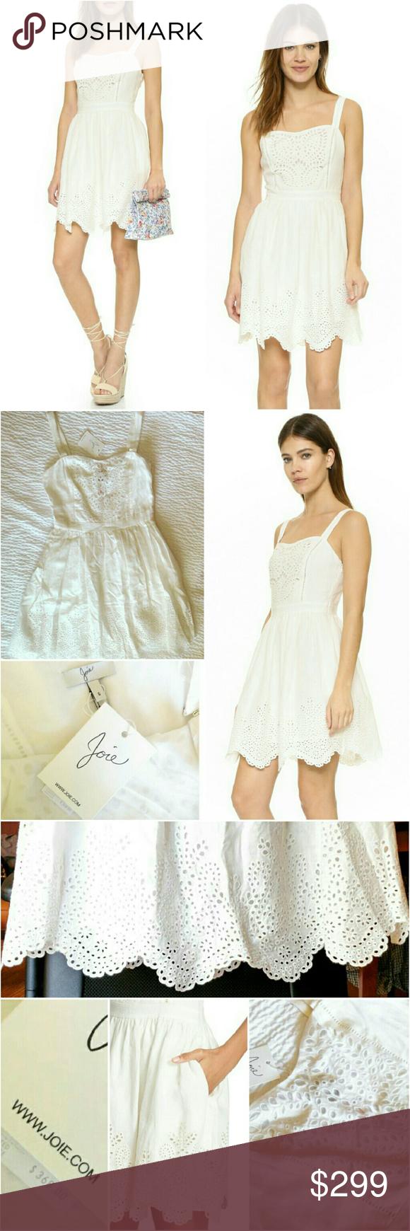 a1446e16c0 Joie Ornata Eyelet Linen Fit   Flare Dress ✨Retails at  368++tax ⏩A  charming linen Joie dress with feminine sweetheart neckline   scalloped hem  ...