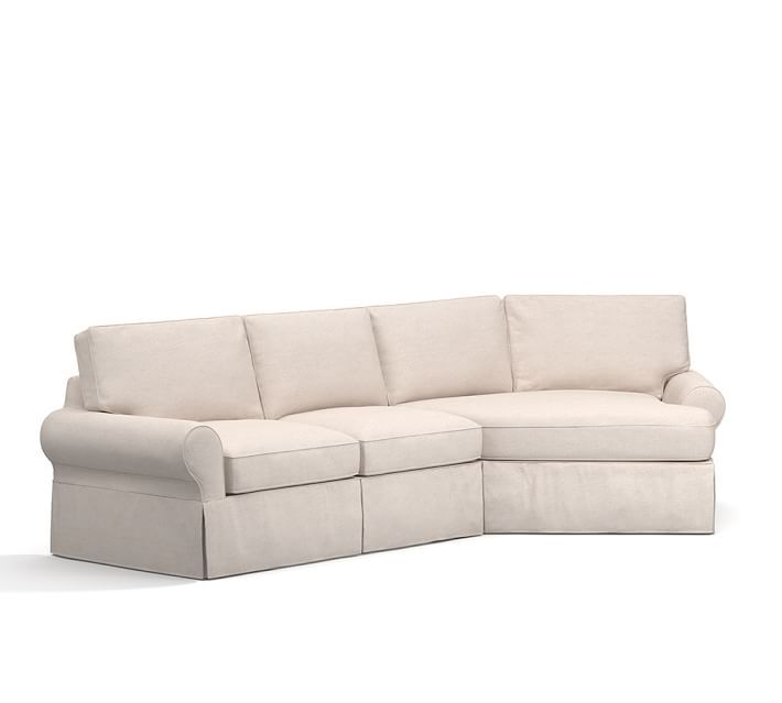 PB Basic Slipcovered 2 Piece Angled Chaise Sectional