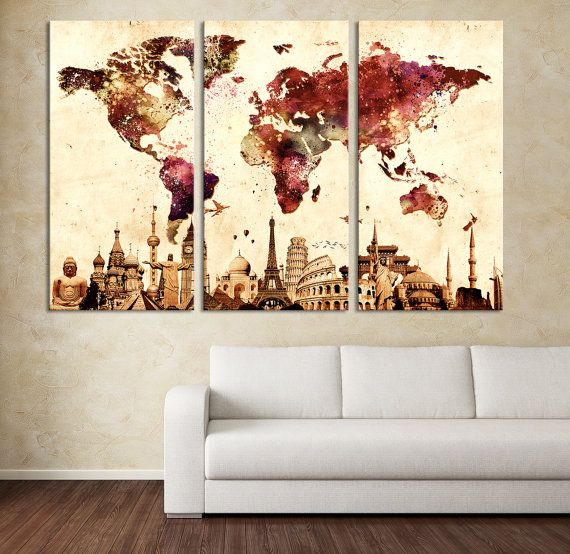 Watercolor world map canvas print large world map wall art xlarge watercolor world map canvas print large world map wall art xlarge world map canvas gumiabroncs Image collections