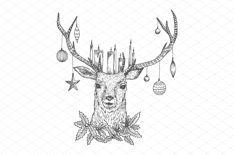 Christmas Sketches.Christmas Sketch Deer Illustrations 1 Sketch Ideas In