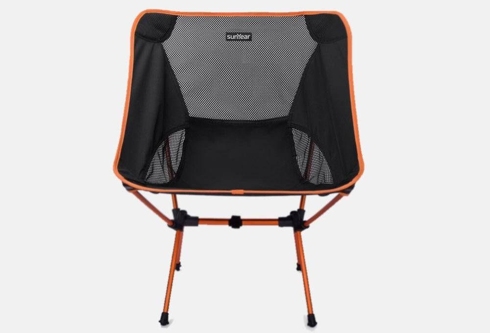 Orange Sunyear Lightweight Compact Folding Backpack Chair