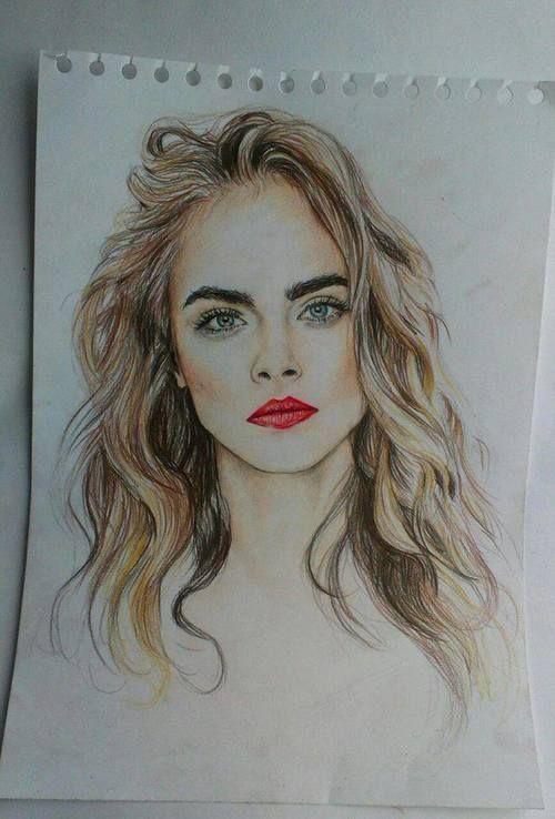 dibujos de cara delevingne  Buscar con Google  Arte  Pinterest