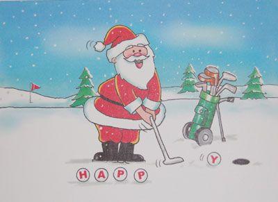 Kristin Elliott Golf Christmas Cards Putting Santa Grey Wolf - Golf christmas cards
